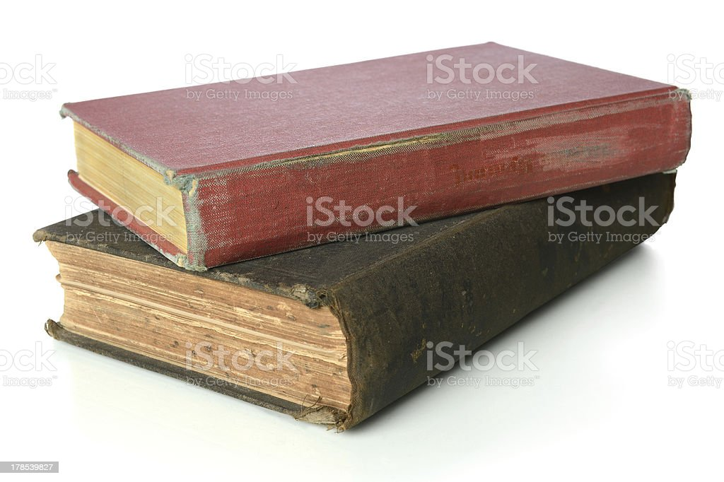 Vintage Books Over White Background royalty-free stock photo