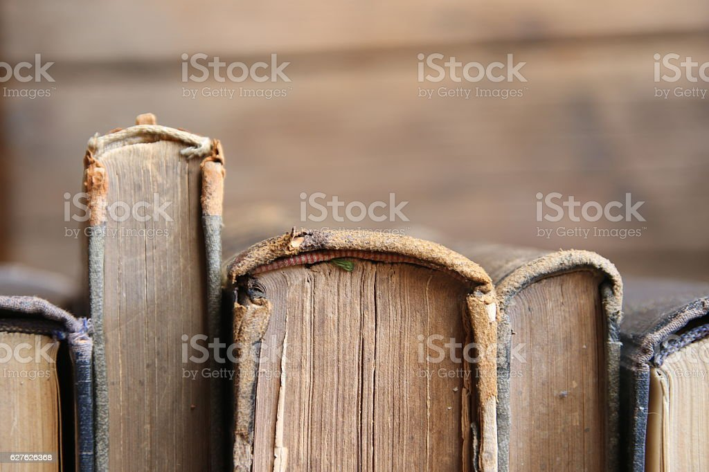 vintage books, soft focus stock photo