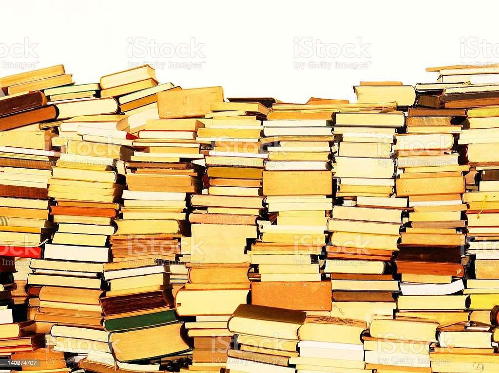 Vintage books stacked stock photo