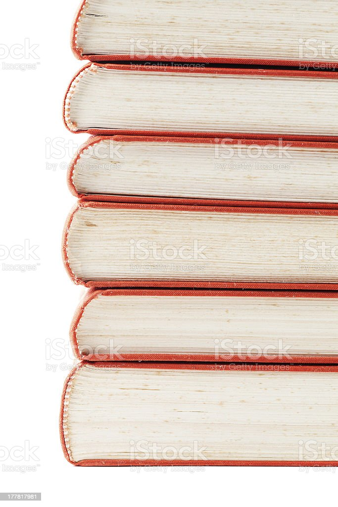 Vintage books with red covers, isolated on white royalty-free stock photo