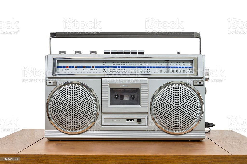 Vintage Boombox on Table Isolated on White stock photo