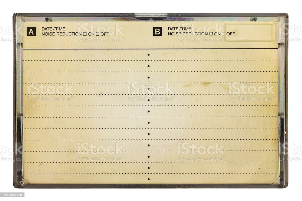Vintage box for a compact cassette with copy space stock photo