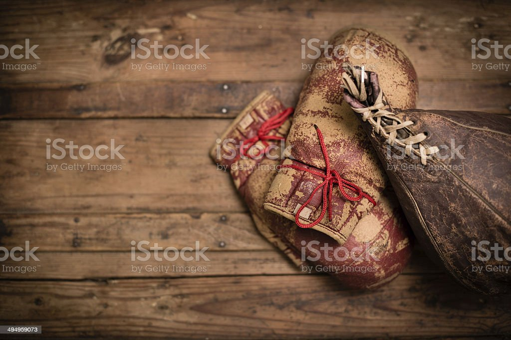 Vintage Boxing Gloves and Punching Bag, With Copy Space stock photo