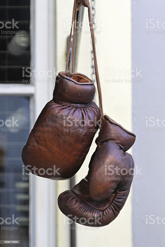 Vintage boxing gloves royalty-free stock photo