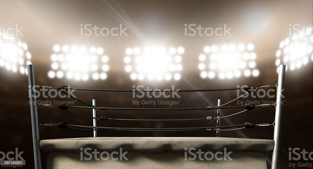 Vintage Boxing Ring In Arena stock photo
