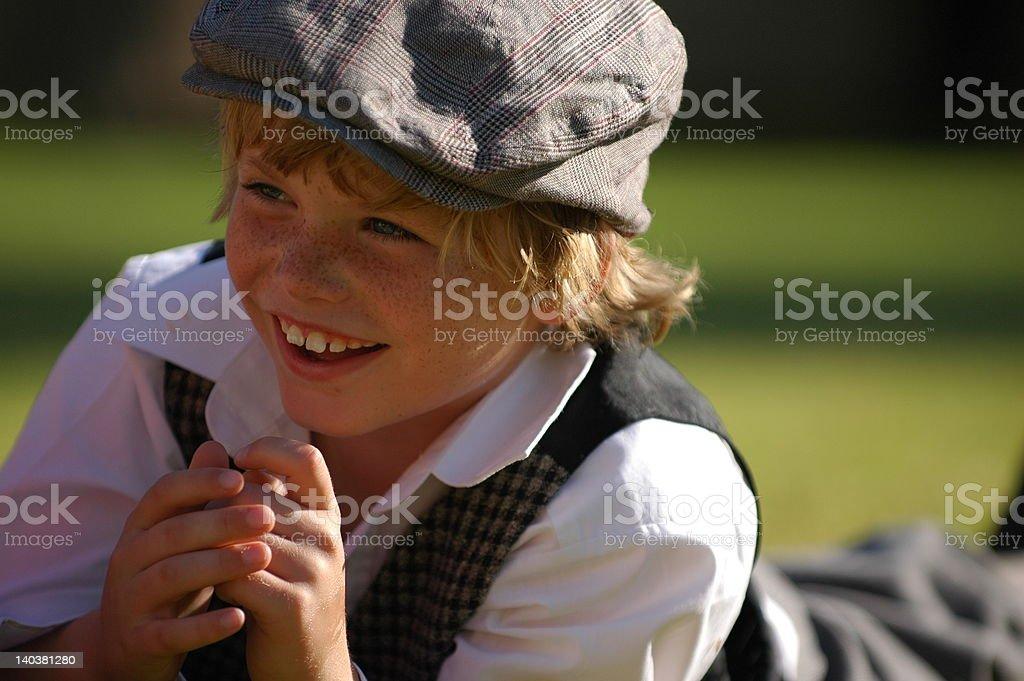 Vintage boy laughing stock photo