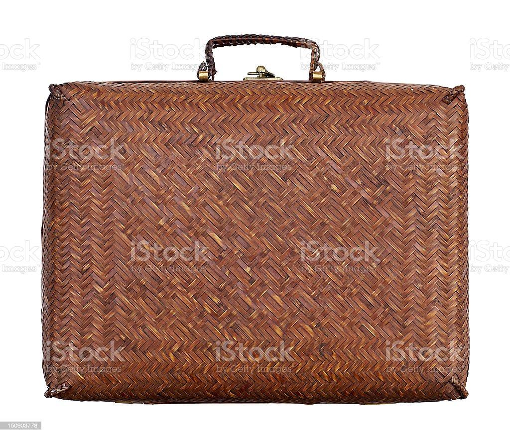 vintage braided suitcase royalty-free stock photo