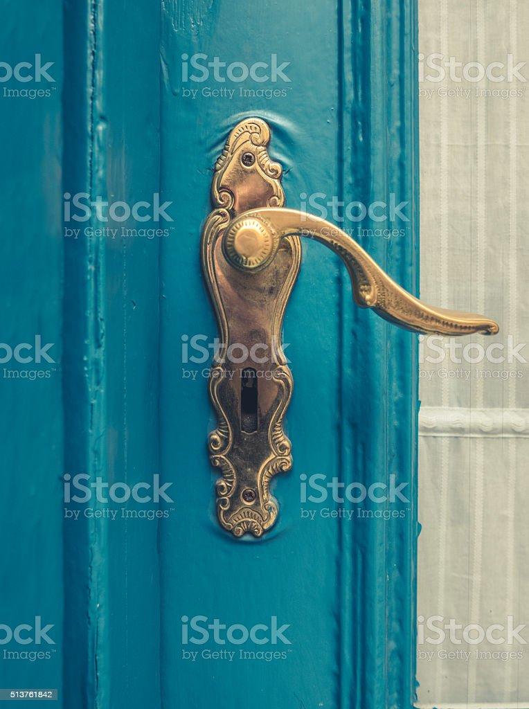 Vintage Brass Door Handle stock photo