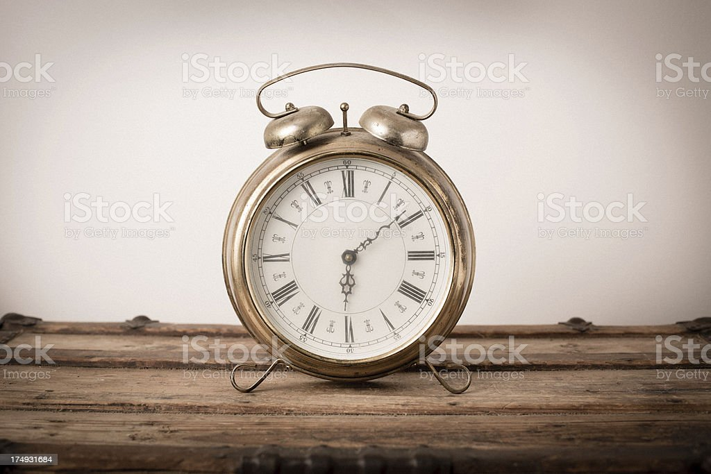 Vintage, Brass, Footed Alarm Clock stock photo