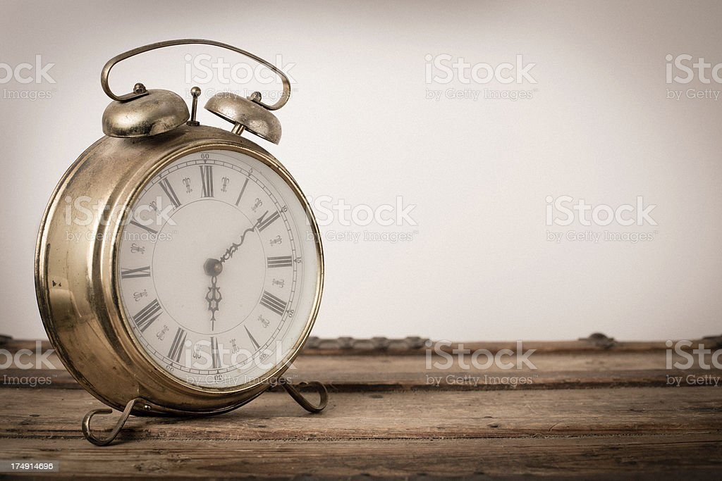Vintage Brass, Footed Alarm Clock, With Copy Space royalty-free stock photo