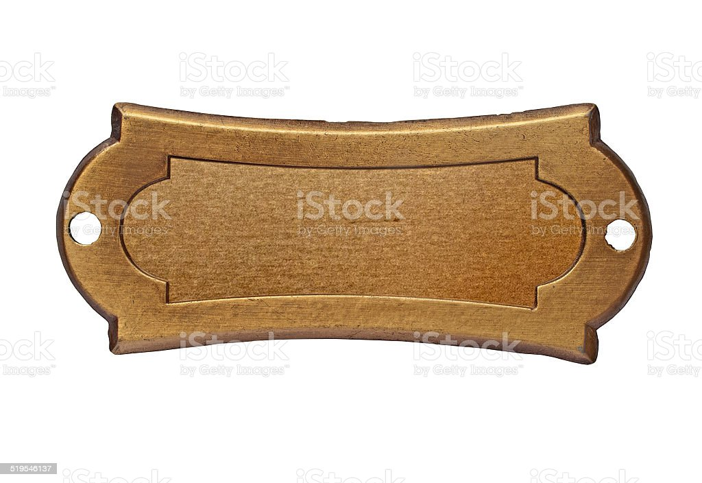 vintage brass name plate stock photo