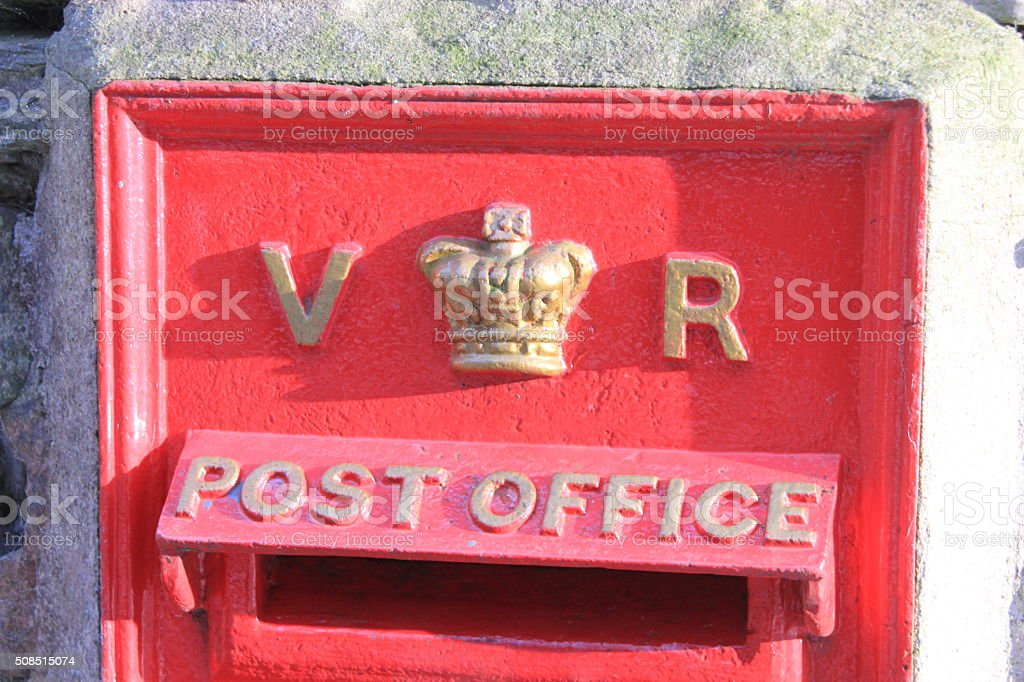 Vintage British Royal Mail red Victorian post box stock photo