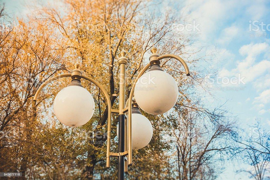 Vintage bronze street lamp stock photo