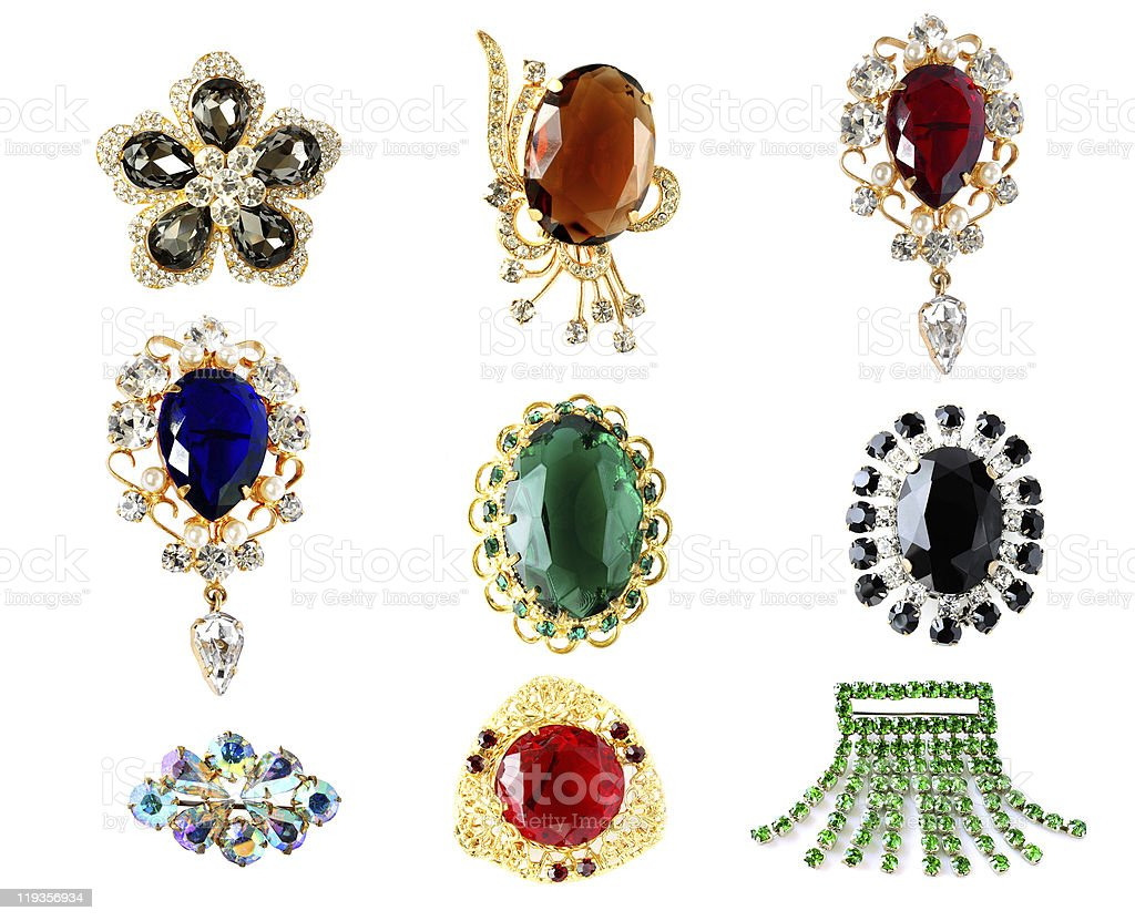 vintage brooches stock photo