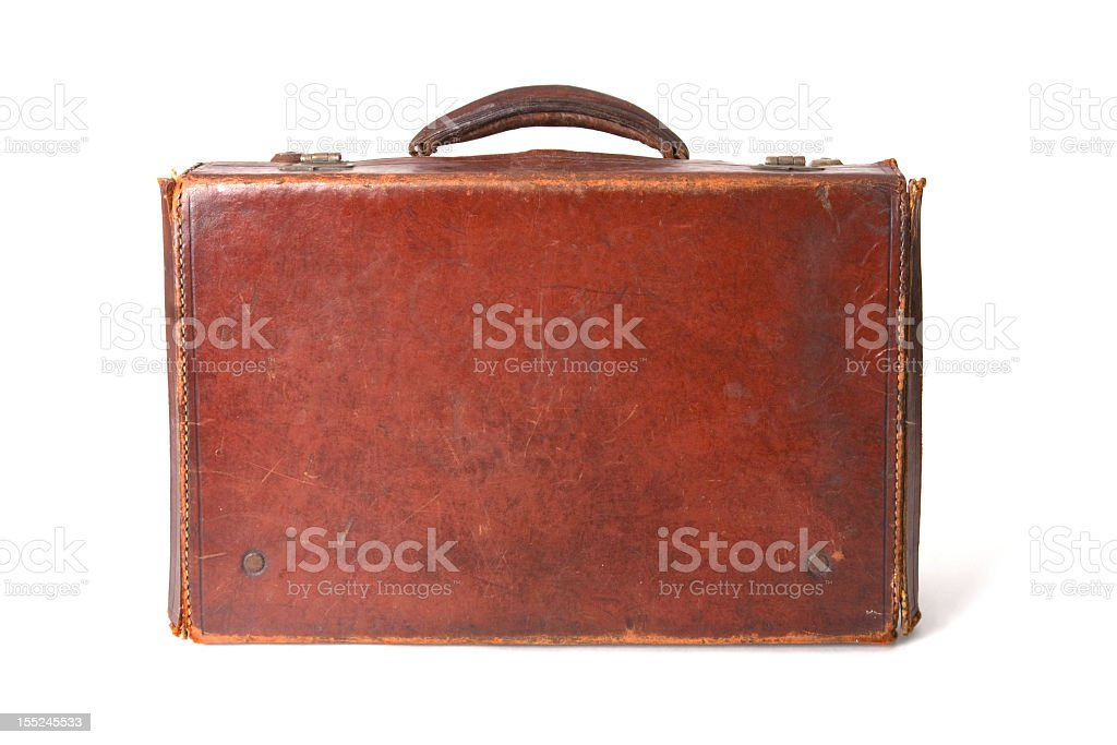 Vintage brown leather suitcase isolated on white stock photo