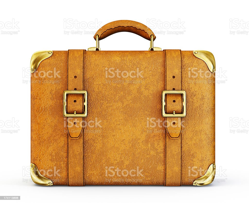 Vintage brown leather suitcase stock photo