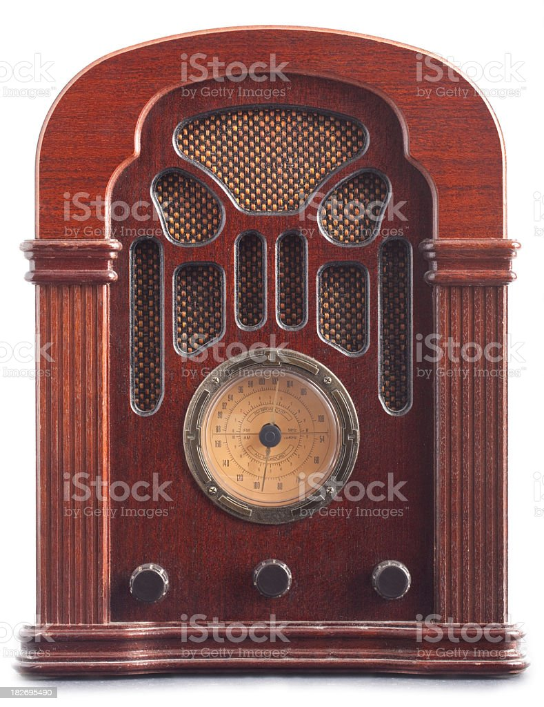 Vintage brown radio with dial and speakers built in stock photo