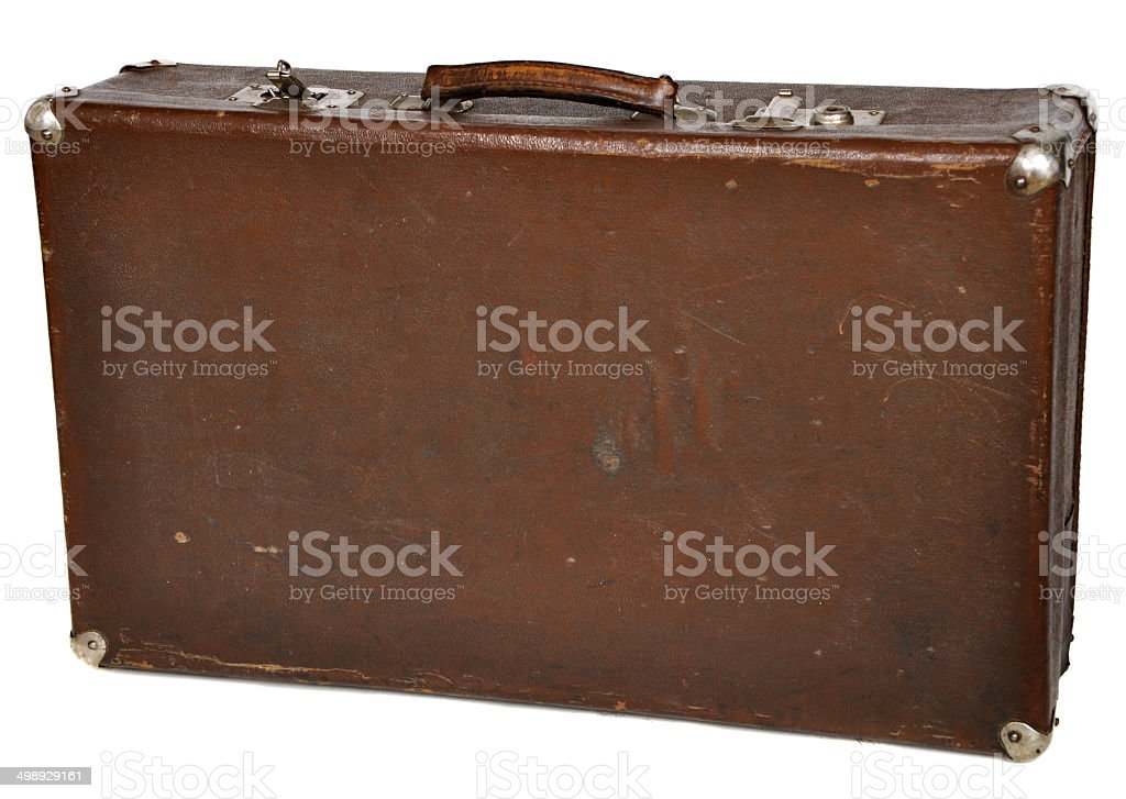 Vintage brown suitcase isolated on white background. clipping path stock photo