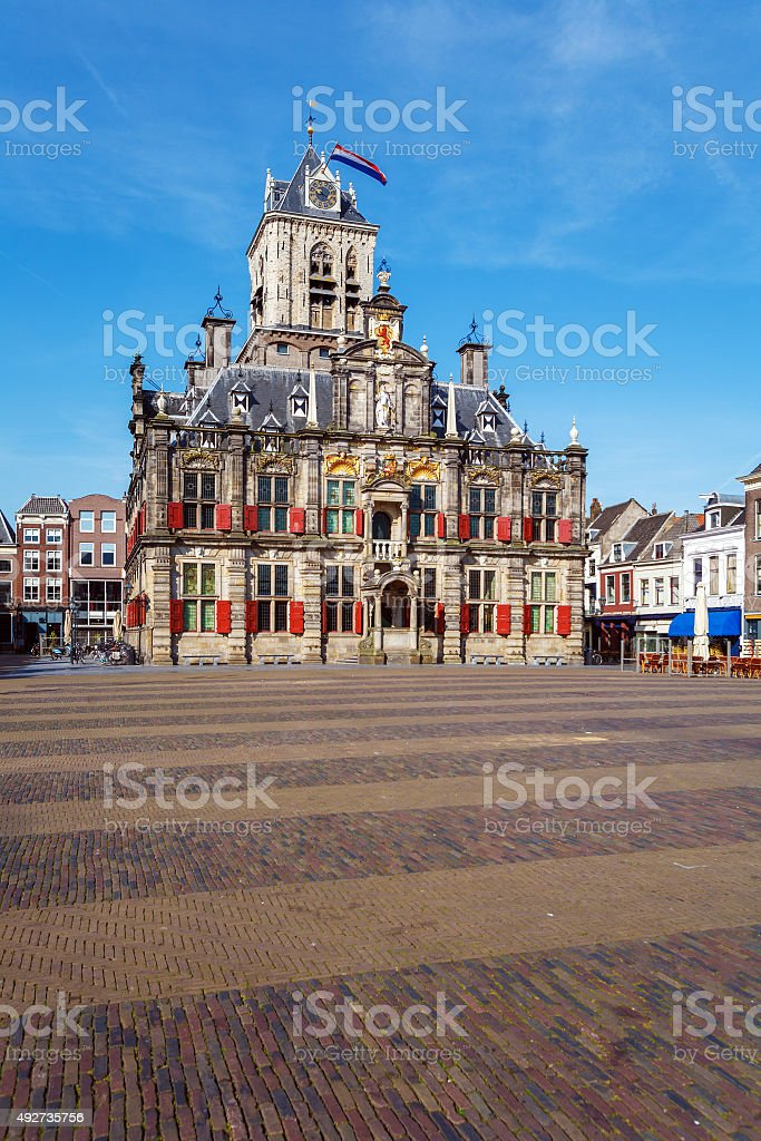 Vintage Building of City Hall, Delt, Holland stock photo