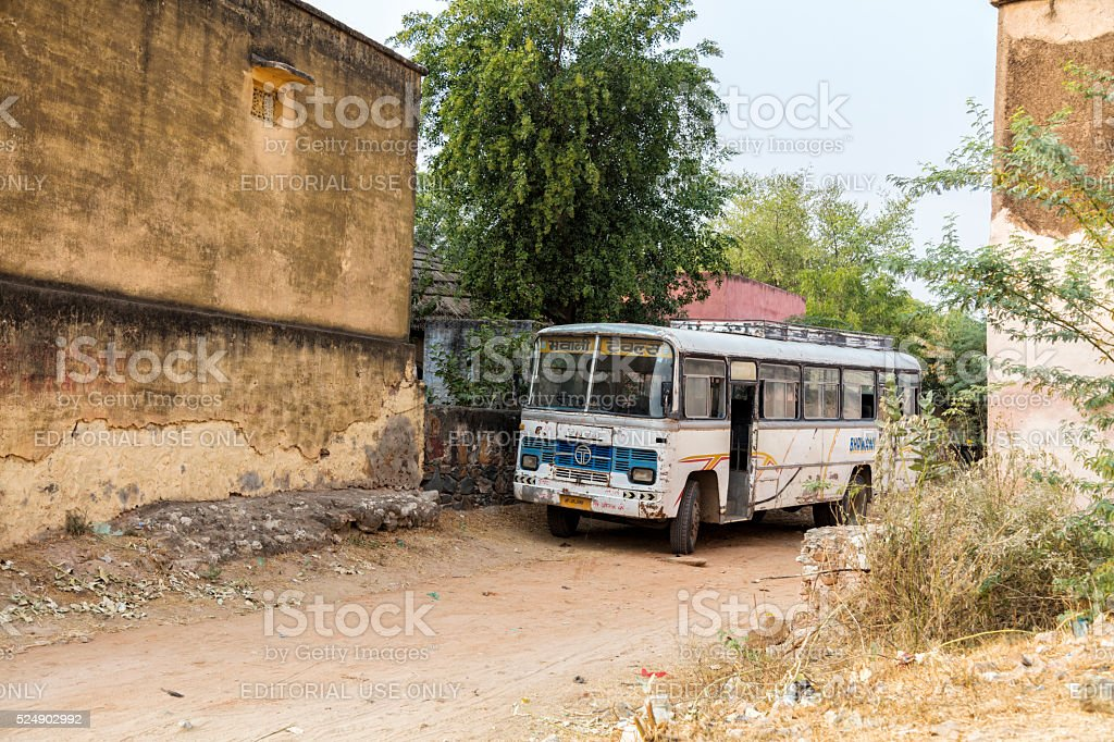Vintage bus in Alsisar, Rajasthan, India stock photo