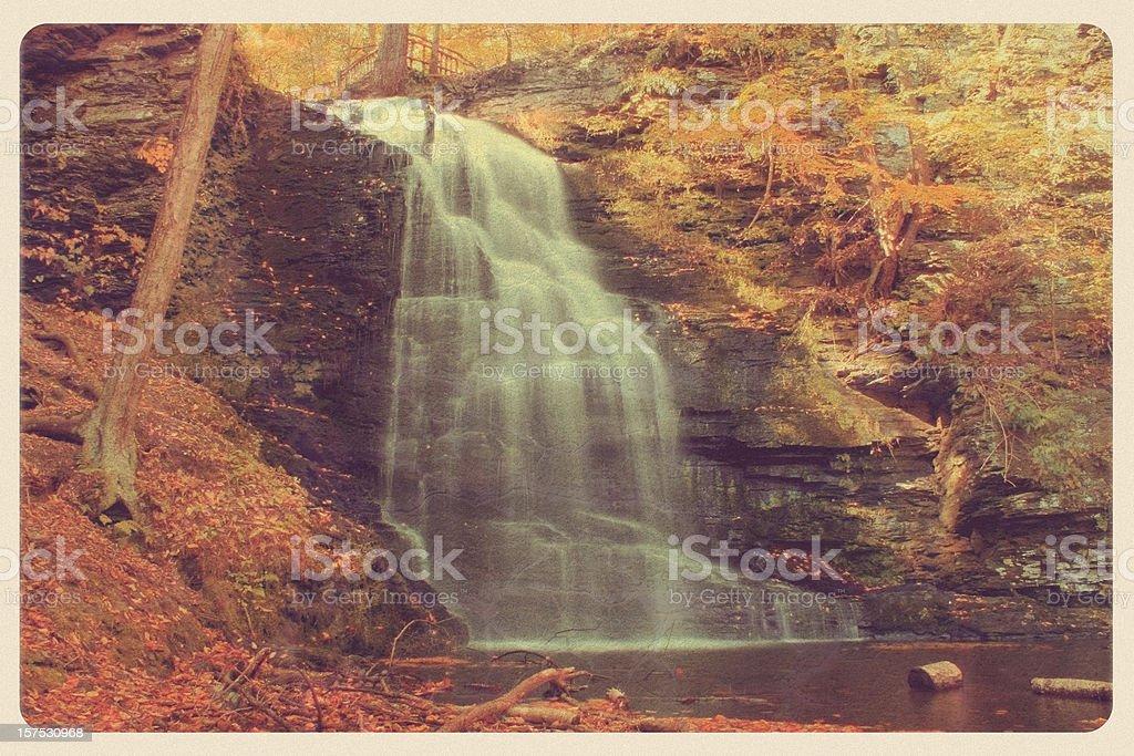 Vintage Bushkill Falls, PA Postcard stock photo