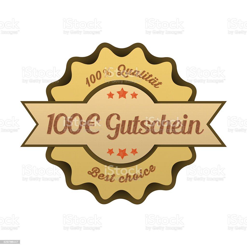 Vintage Button / 100€ Gutschein stock photo