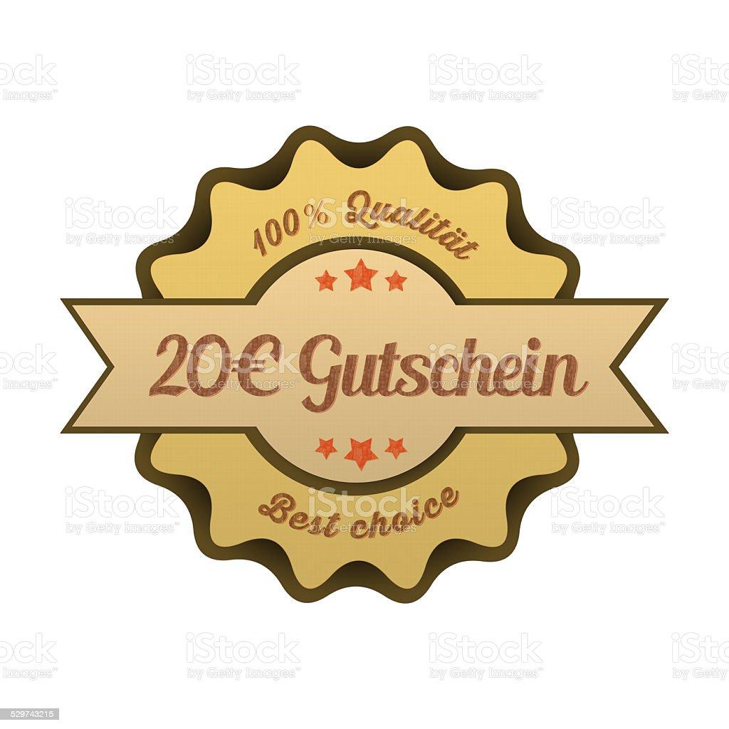 Vintage Button / 20€ Gutschein stock photo