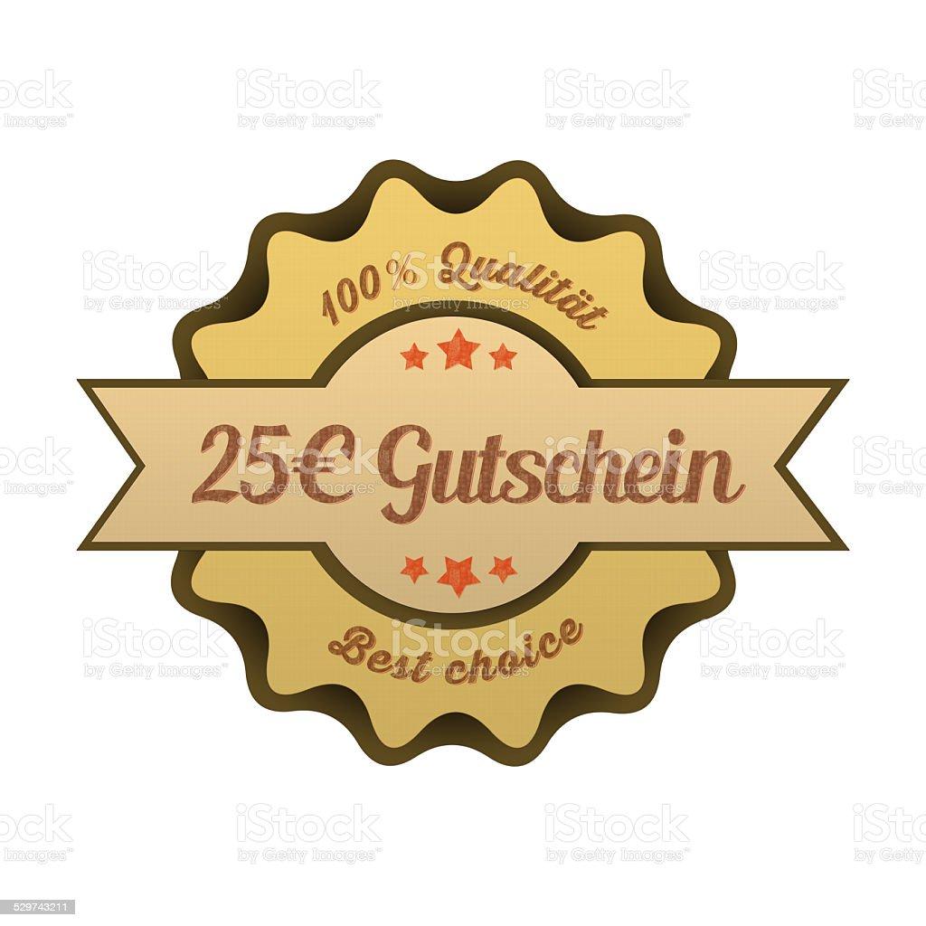 Vintage Button / 25€ Gutschein stock photo