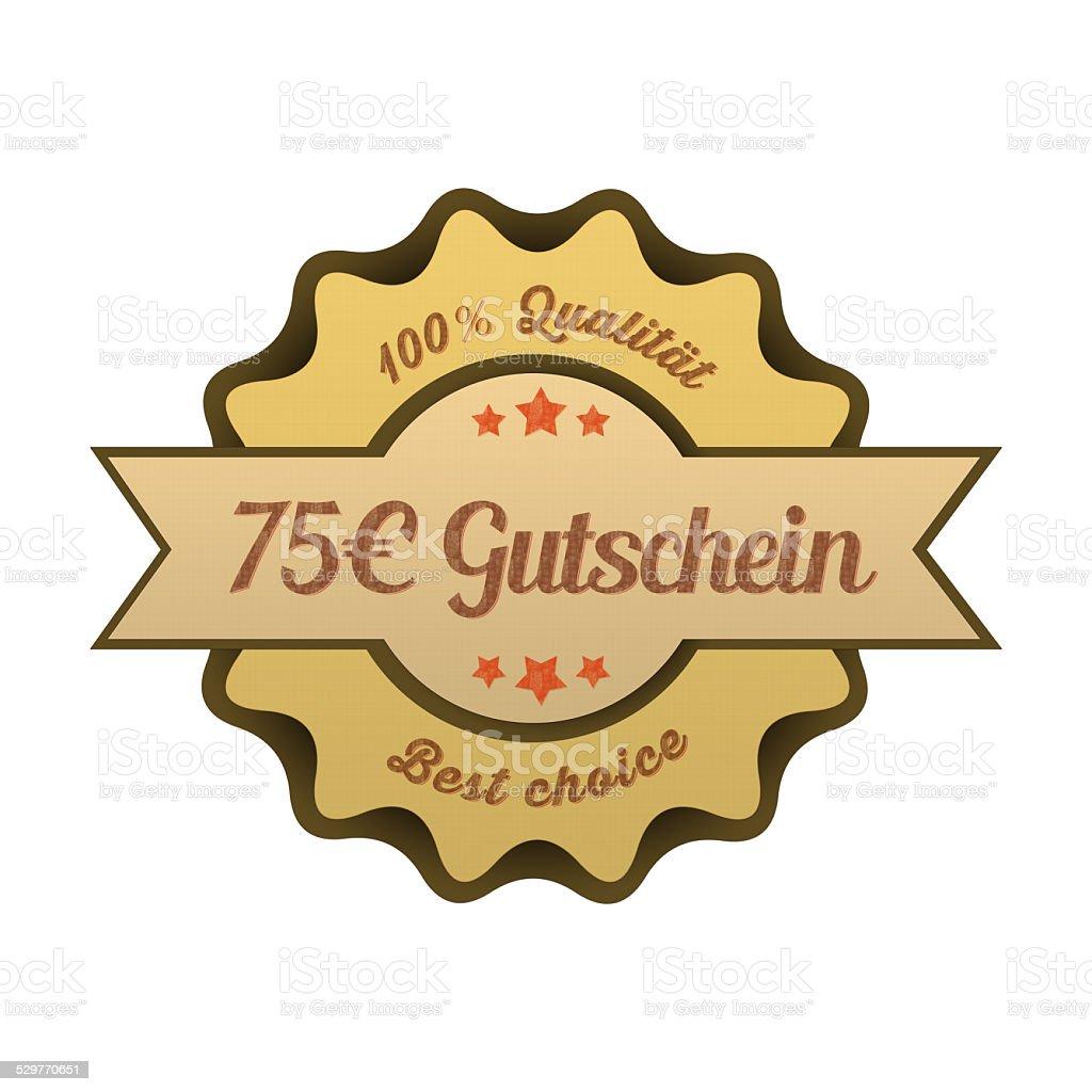 Vintage Button / 75€ Gutschein stock photo