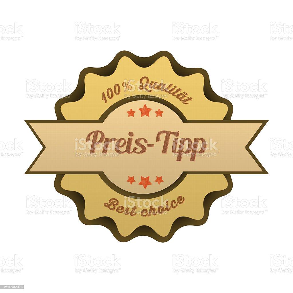 Vintage Button / Preis-Tipp stock photo
