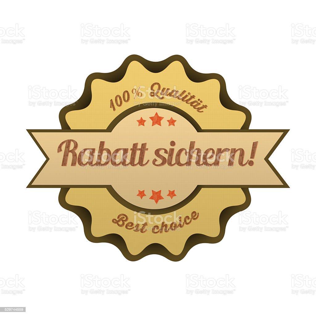 Vintage Button / Rabatt sichern! stock photo