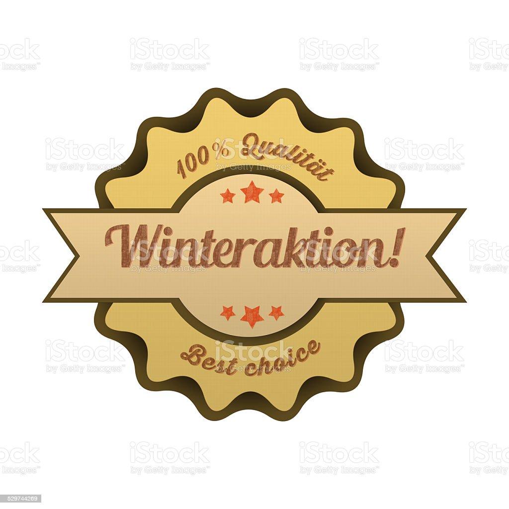Vintage Button / Winteraktion stock photo