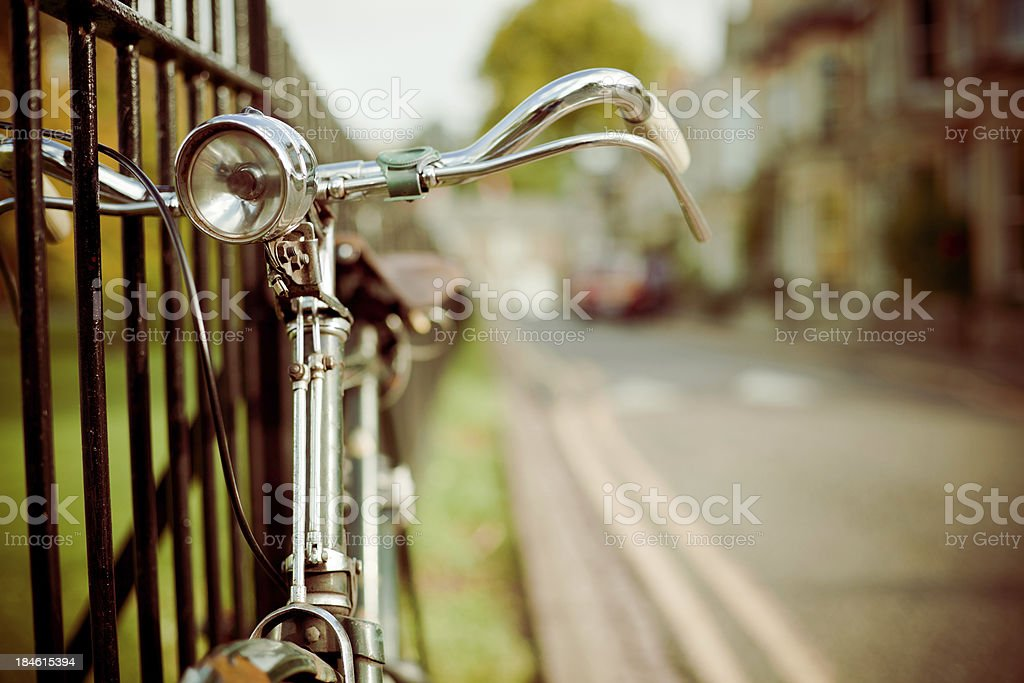 Vintage Bycicle on the Street, Retro Style stock photo