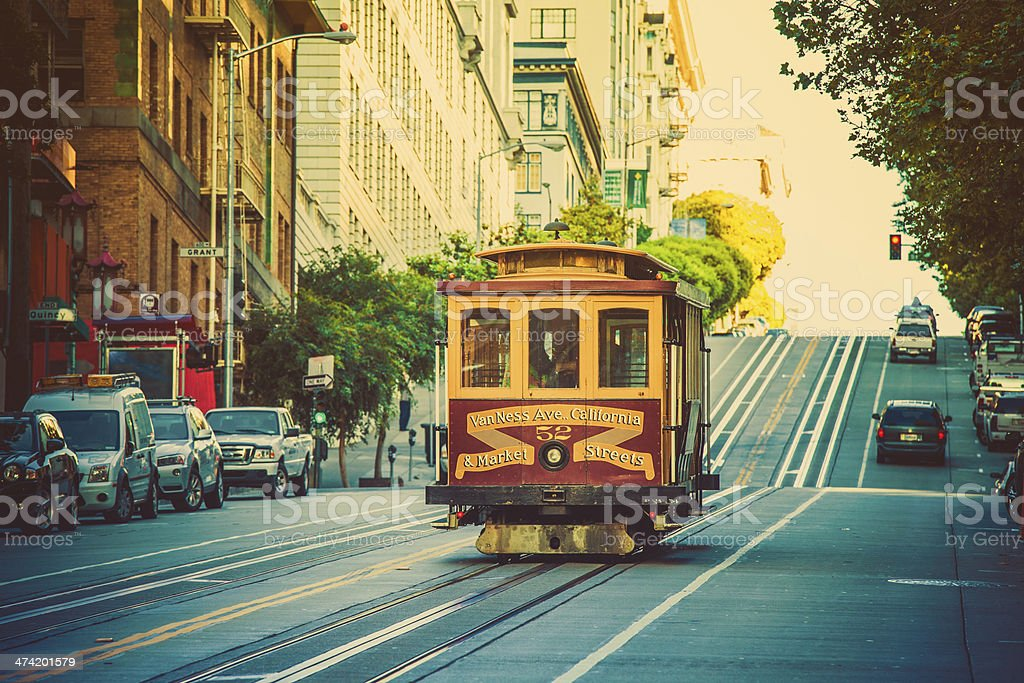 Old cable Car on the Street of San Francisco, California stock photo