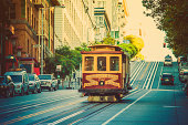 Vintage cable car in San Francisco, California