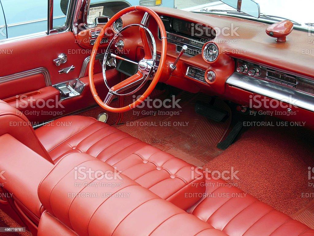 Vintage Cadillac dashboard stock photo