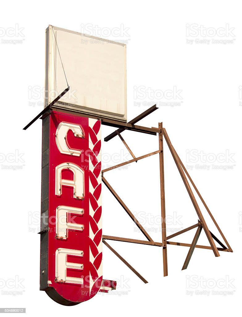 Vintage Cafe Neon Sign stock photo