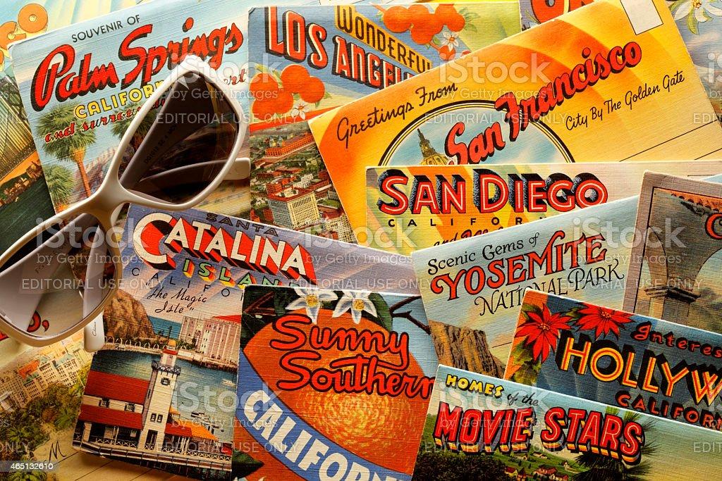 Vintage California Postcards stock photo