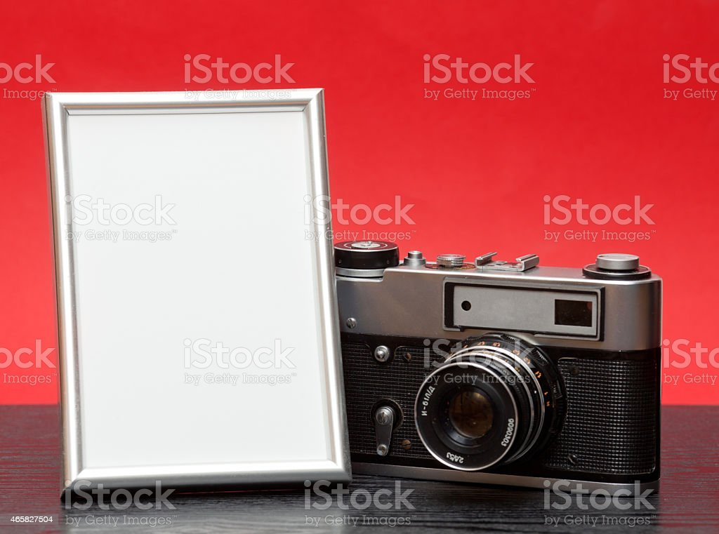 Vintage camera and photo stock photo
