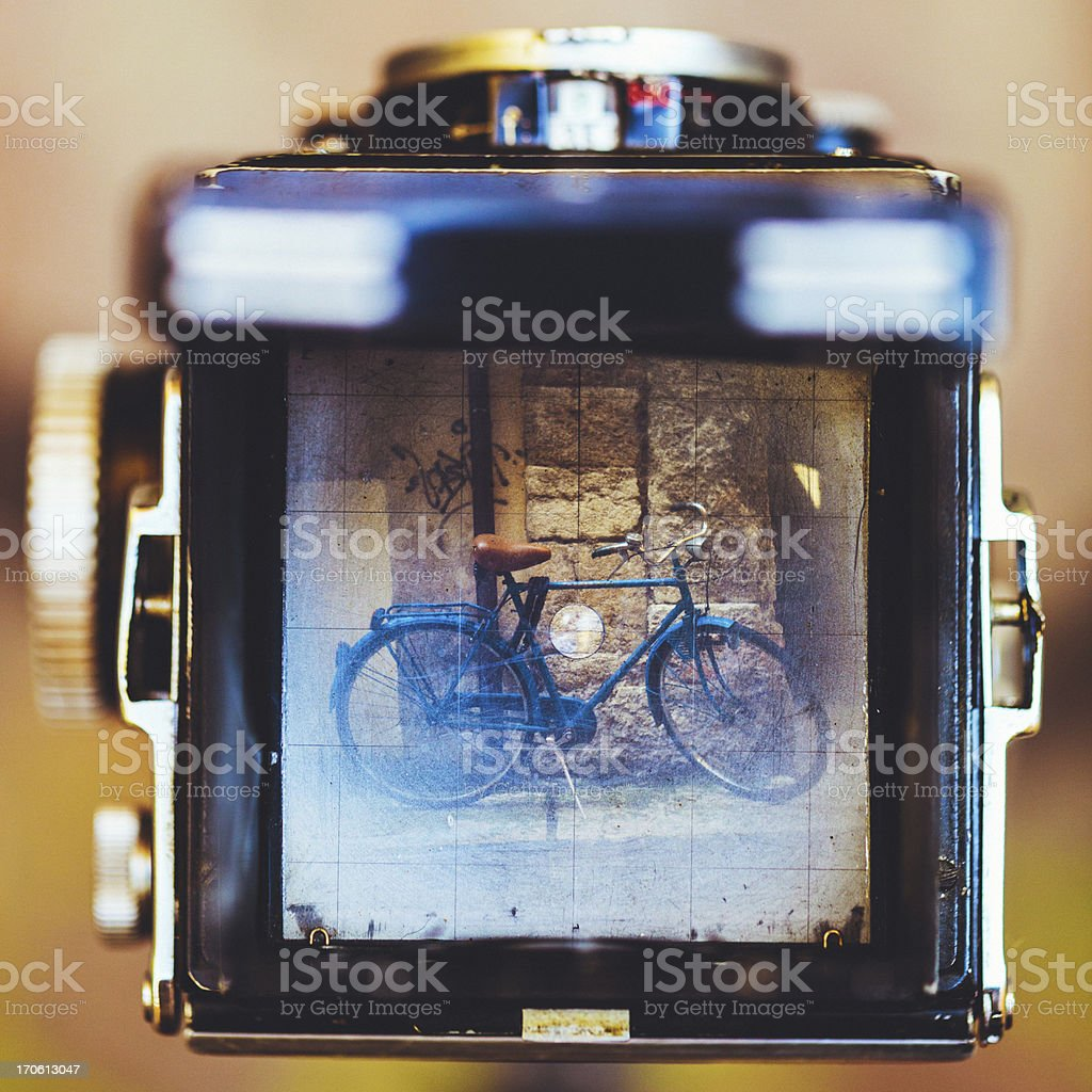 Vintage Camera and Retro Bicycle stock photo
