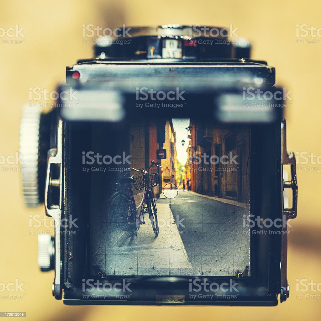 Vintage Camera and Retro Bicycle royalty-free stock photo
