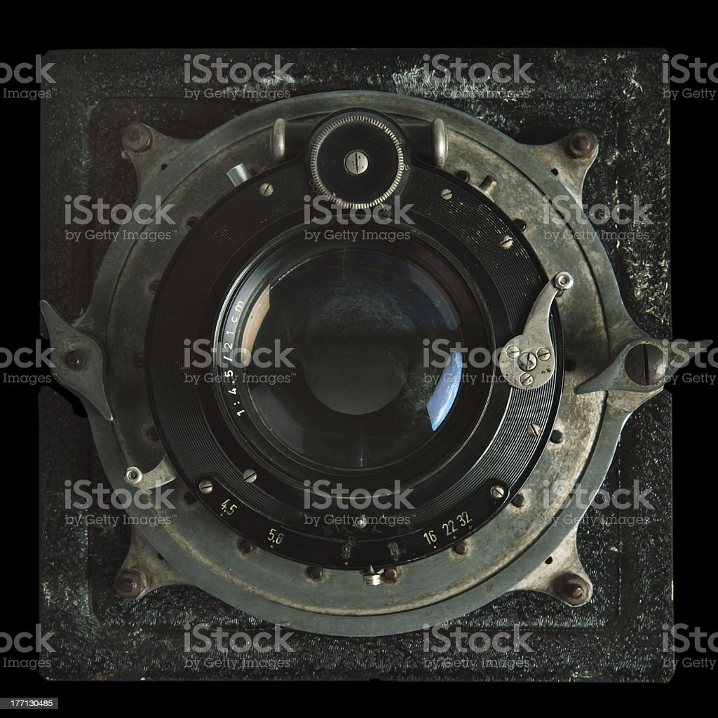 Vintage camera lens stock photo