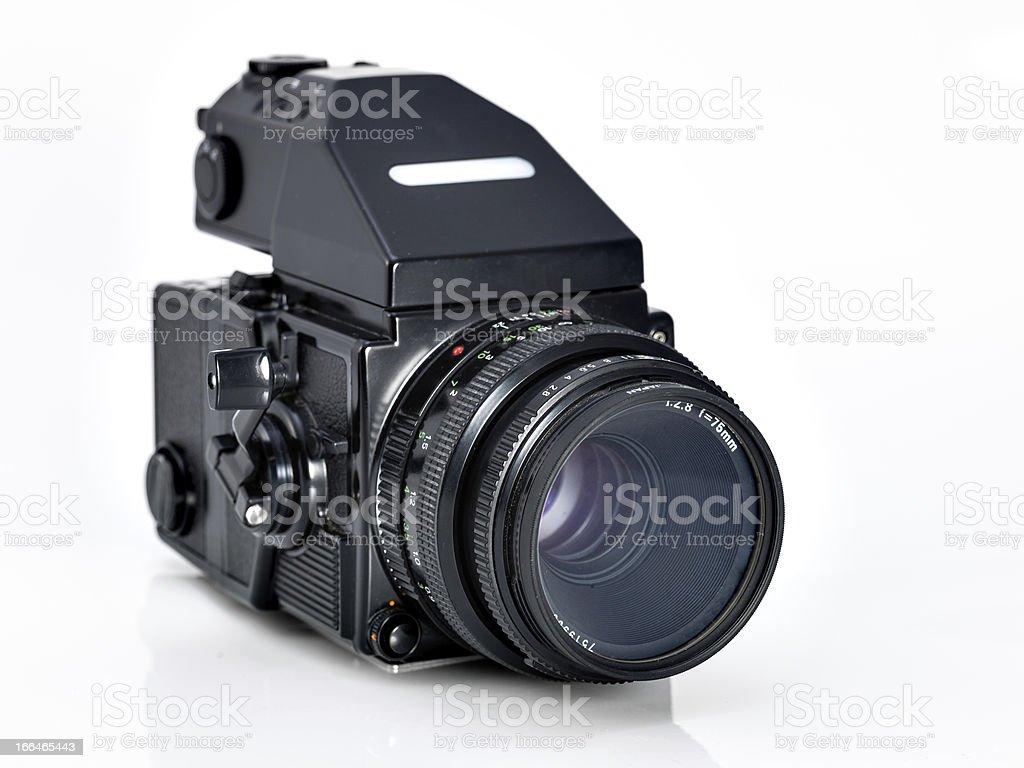vintage camera on white background. stock photo