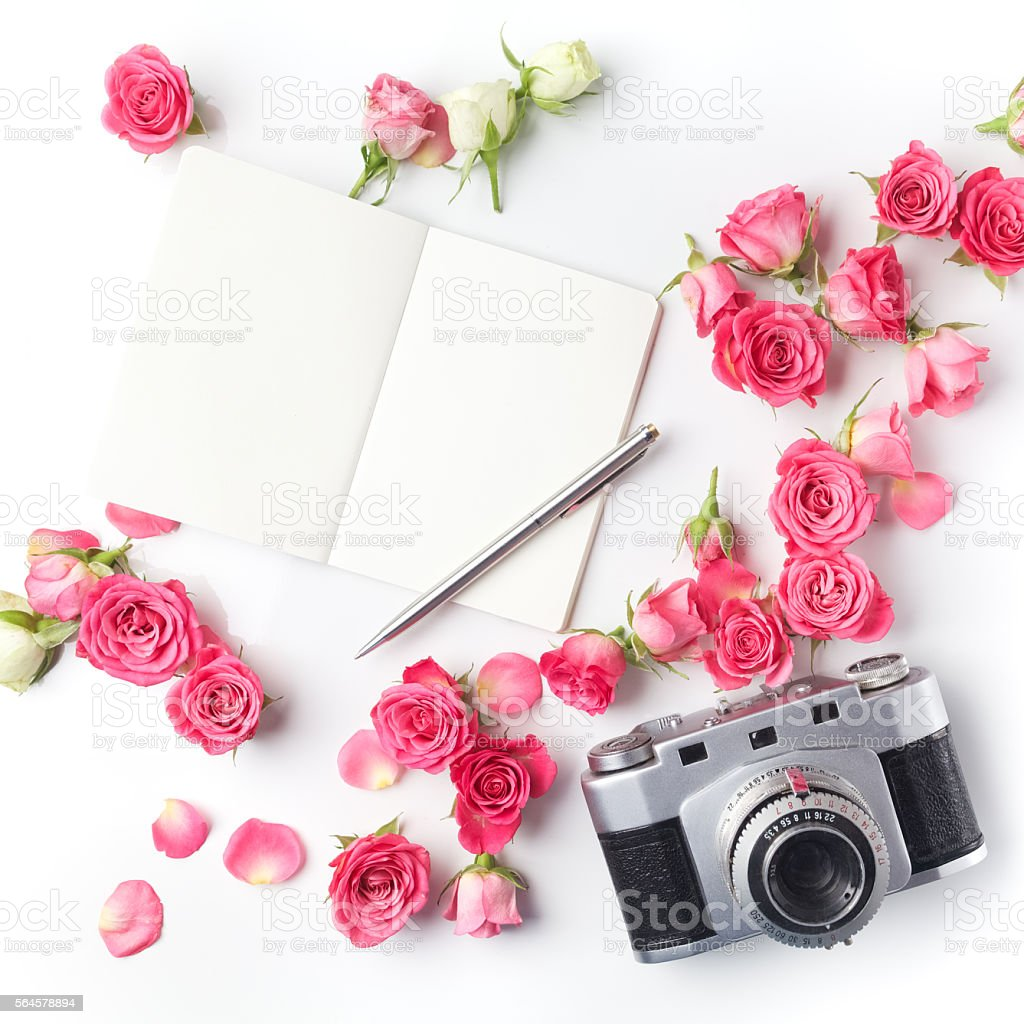 Vintage camera pink roses and note on white background. Flat stock photo