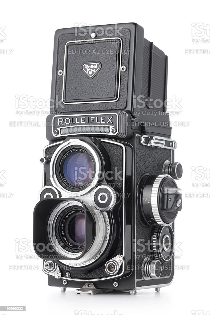 Vintage camera. Rolleiflex, medium format 6x6 cm. stock photo