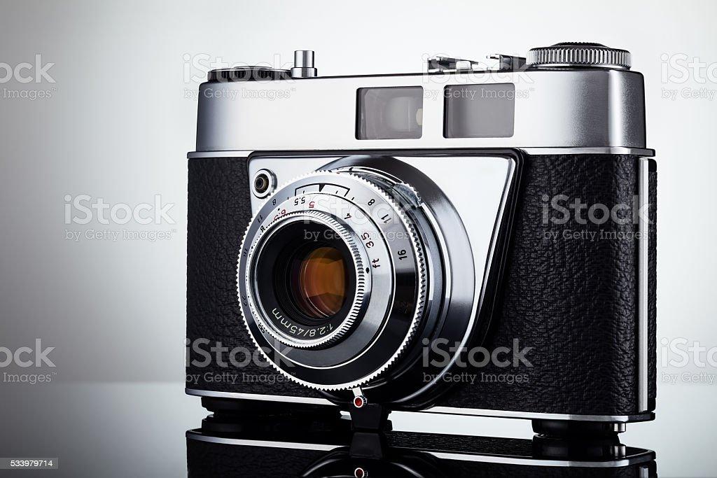 Vintage camera studio shot stock photo