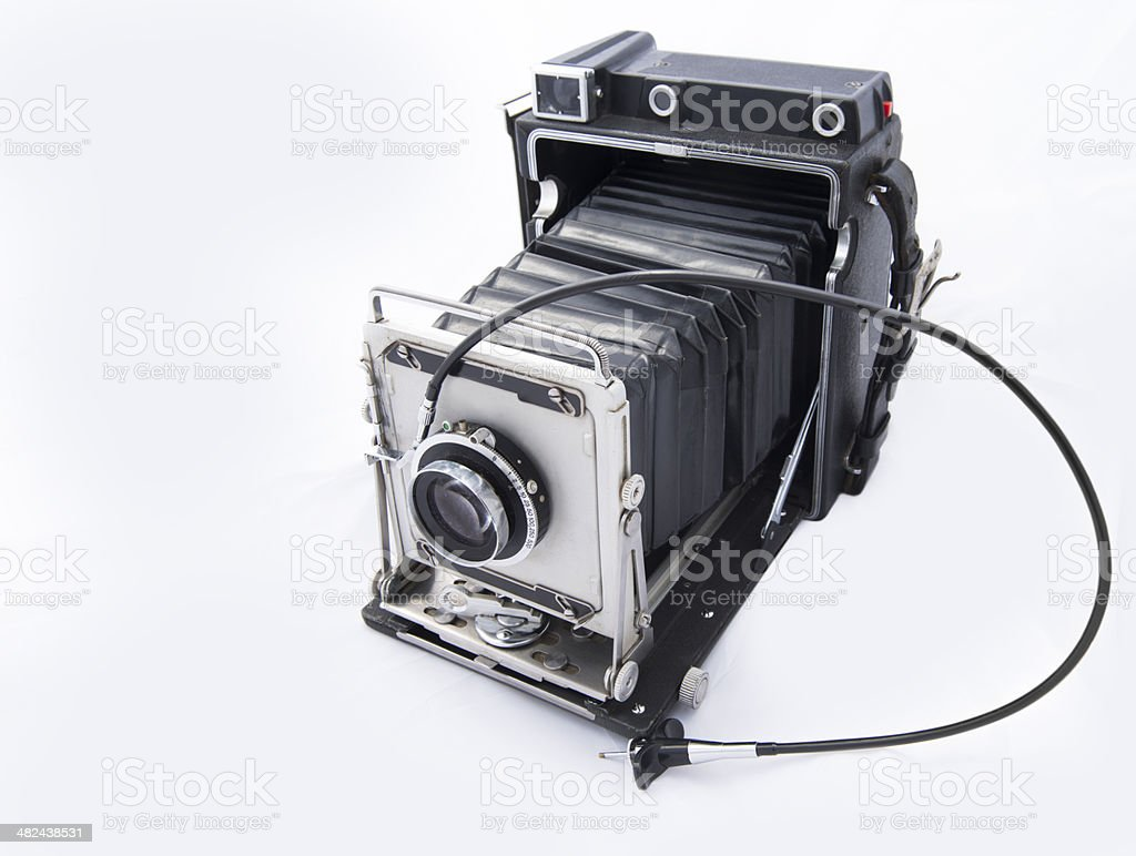 Vintage Camera with Bellows on White stock photo