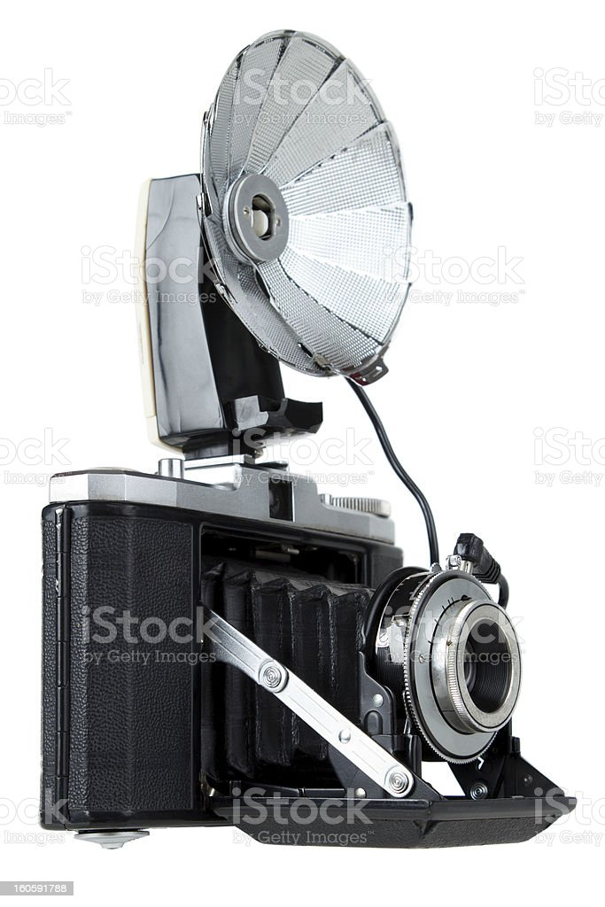 Vintage camera with bulb flash royalty-free stock photo