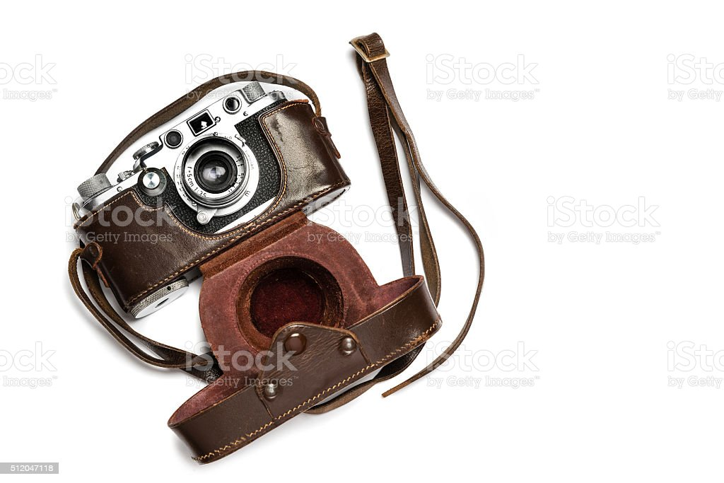 Vintage camera with leather case stock photo