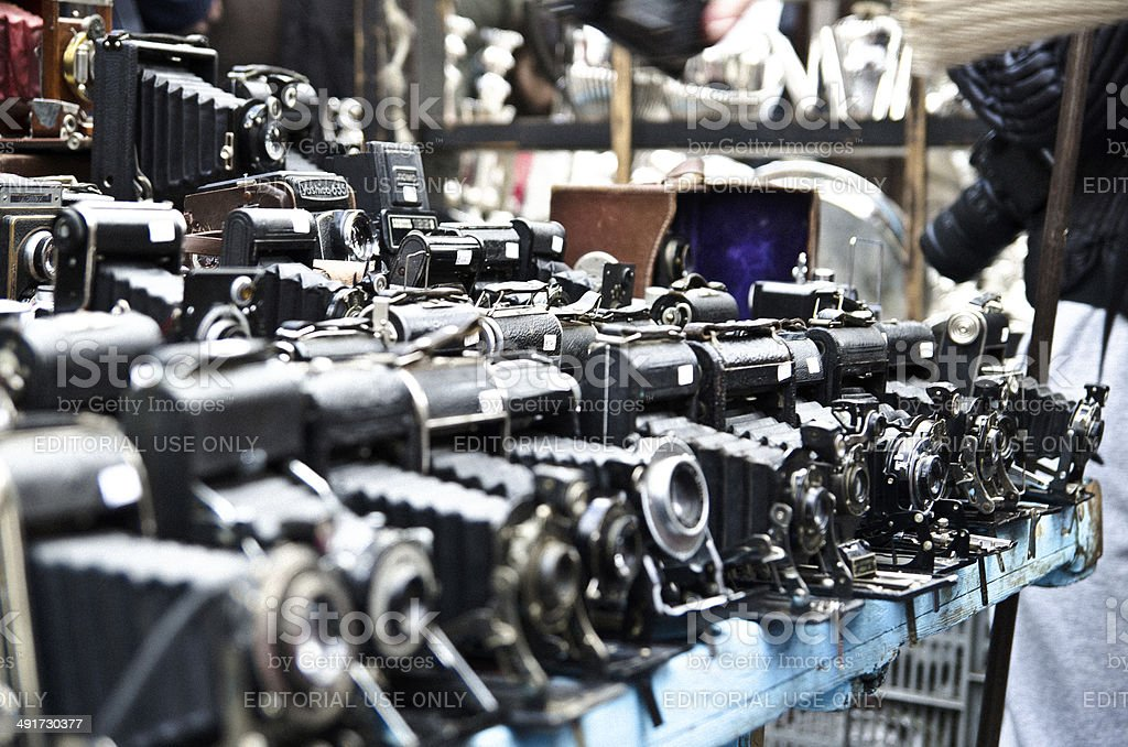 Vintage Cameras At The Market stock photo